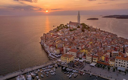Panorama of Rovinj with the church in the central part